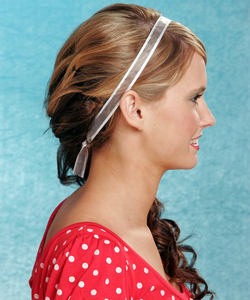 Casual Curly Half Up Hairstyle - Dark Blonde (Copper) - side view 2