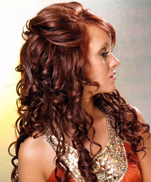 Curly Formal Half Up Hairstyle - Medium Red (Mahogany) Hair Color - side on view