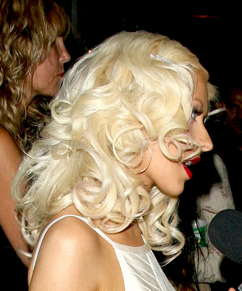 Christina Aguilera Medium Wavy Formal Hairstyle - Light Blonde Hair Color - side on view