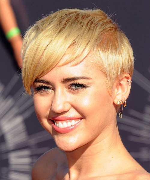 Miley Cyrus Short Straight Casual  - Medium Blonde (Honey) - side on view