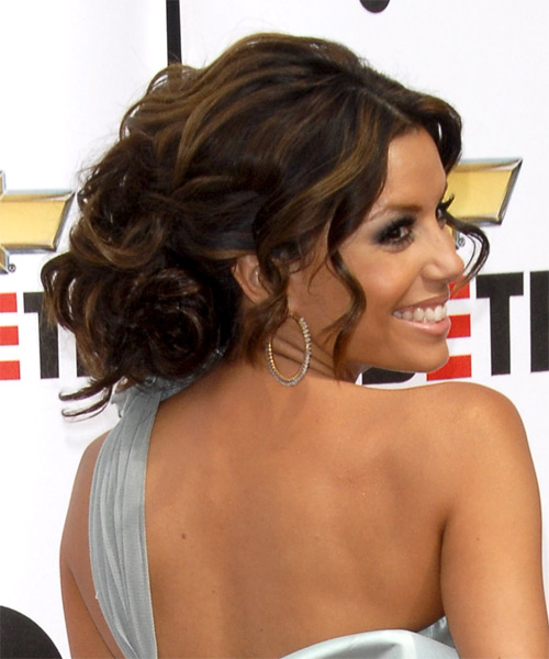 Eva Longoria Parker Curly Formal Updo Hairstyle - Dark Brunette Hair Color - side on view