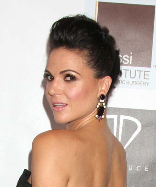 Lana Parrilla Updo Long Straight Formal Wedding Updo - Dark Brunette - side on view