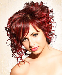 Casual Updo Medium Curly Hairstyle - click to view hairstyle information