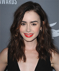 Lily Collins Hairstyle - click to view hairstyle information