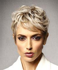Short Wavy Formal Shag with Side Swept Bangs - Light Blonde (Ash)