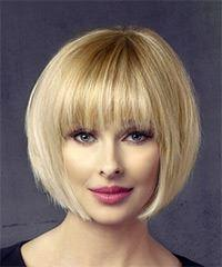 Short Straight Formal Bob with Layered Bangs - Light Blonde (Honey)