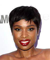 Jennifer Hudson Short Straight Casual Pixie with Side Swept Bangs - Black