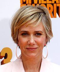 Kristen Wiig Short Straight Casual  with Side Swept Bangs - Medium Blonde