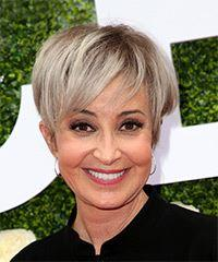 Annie Potts Short Straight Casual Pixie with Side Swept Bangs - Light Grey