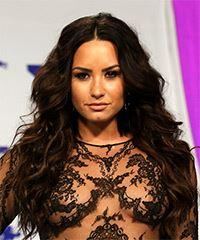 Demi Lovato Long Wavy Casual  - Dark Brunette