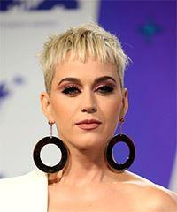 Katy Perry Short Straight Casual Pixie with Blunt Cut Bangs - Light Blonde (Platinum)