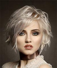 Short Wavy Casual Bob with Side Swept Bangs - Light Blonde (Platinum)