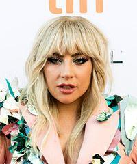 Lady Gaga Long Wavy Casual  with Blunt Cut Bangs - Light Blonde (Champagne)