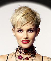 Short Straight Casual Pixie with Razor Cut Bangs - Light Blonde