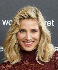 Elsa Pataky Medium Wavy Casual Bob with Side Swept Bangs - Light Blonde