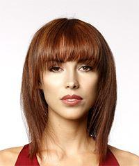 Medium Straight Formal Bob with Layered Bangs - Medium Red
