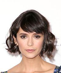 Nina Dobrev Short Wavy Casual Bob with Side Swept Bangs - Dark Brunette