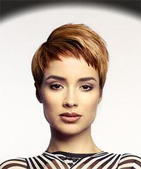 Short Straight Casual Pixie with Asymmetrical Bangs - Medium Red
