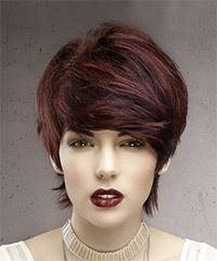 Short Straight Formal Pixie with Side Swept Bangs - Dark Red