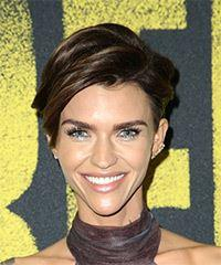 Ruby Rose Short Straight Casual Pixie with Side Swept Bangs - Dark Brunette