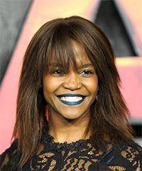 Oti Mabuse Medium Straight Casual  with Blunt Cut Bangs - Medium Brunette