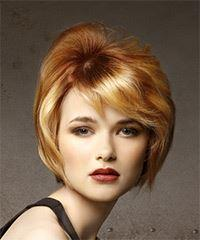 Short Straight Casual  with Side Swept Bangs - Light Red