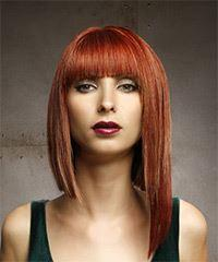 Medium Straight Formal Asymmetrical with Blunt Cut Bangs - Medium Red