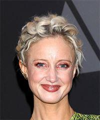 Andrea Riseborough Short Curly Casual Pixie - Light Blonde