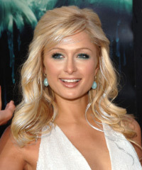 Paris Hilton Half Up Long Curly Formal