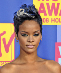 Rihanna Short Straight Alternative    Hairstyle   - Black Ash  Hair Color with Blue Highlights