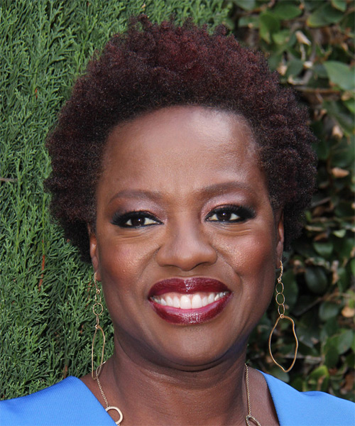 Viola Davis Short Curly Casual    Hairstyle   - Dark Red Hair Color