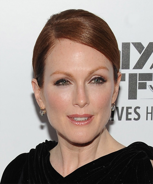 Julianne Moore Long Straight Formal   Updo Hairstyle   -  Copper Red Hair Color