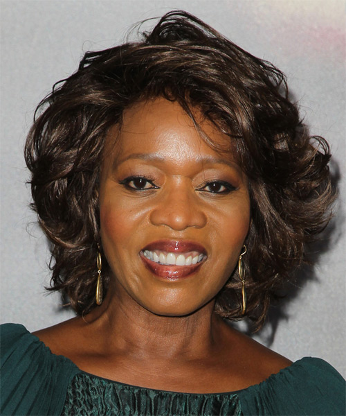 Alfre Woodard Short Wavy Formal Hairstyle - Dark Chocolate Brunette Hair Color