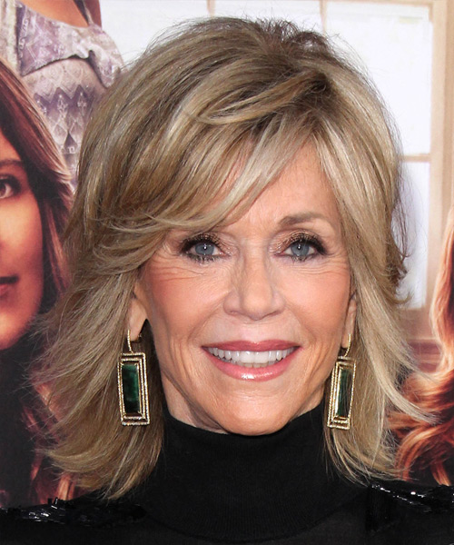 Jane Fonda Medium Straight Formal Hairstyle - Medium Champagne Blonde Hair Color with Light Blonde Highlights