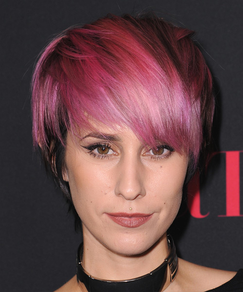 Dev Short Straight Casual    Hairstyle with Razor Cut Bangs  - Pink  and Black Two-Tone Hair Color