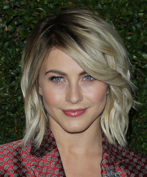 Julianne Hough Medium Wavy Casual Hairstyle - Medium Ash Blonde Hair Color