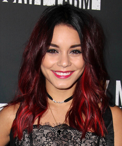 Vanessa Hudgens Long Straight Casual    Hairstyle   - Dark Red Hair Color