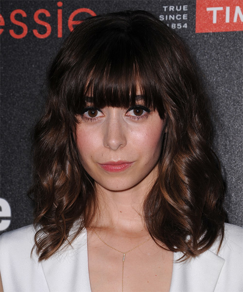 Cristin Milioti Medium Wavy Casual   Hairstyle with Blunt Cut Bangs  - Dark Brunette