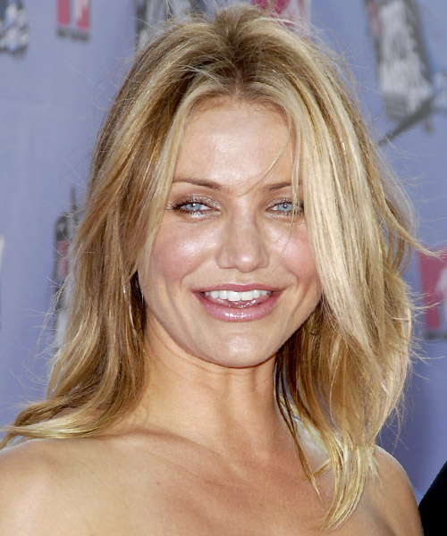 Cameron Diaz Long Straight Casual    Hairstyle   -  Golden Blonde Hair Color