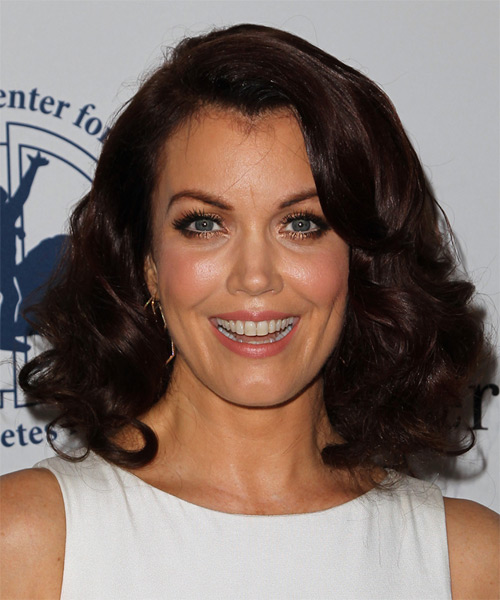 Bellamy Young Medium Wavy Formal    Hairstyle   - Dark Chocolate Brunette Hair Color