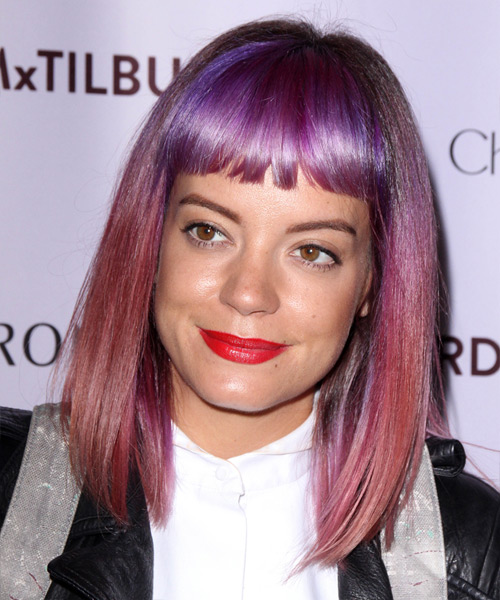 Lily Allen Medium Straight   Purple  Emo  Hairstyle with Blunt Cut Bangs