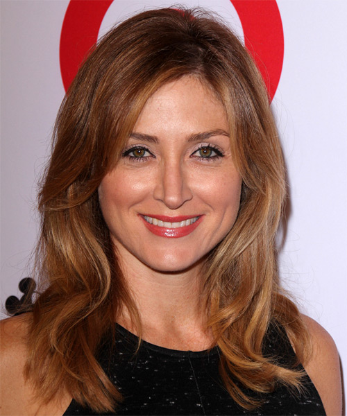 Sasha Alexander Long Straight Casual    Hairstyle   -  Auburn Red Hair Color