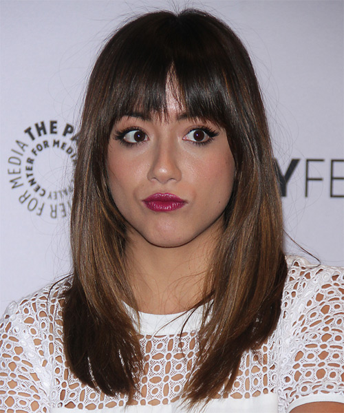 Chloe Bennet Long Straight Casual   Hairstyle with Layered Bangs  - Medium Brunette