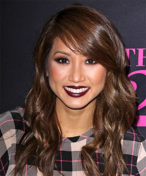 Brenda Song Long Wavy    Chocolate Brunette   Hairstyle with Side Swept Bangs