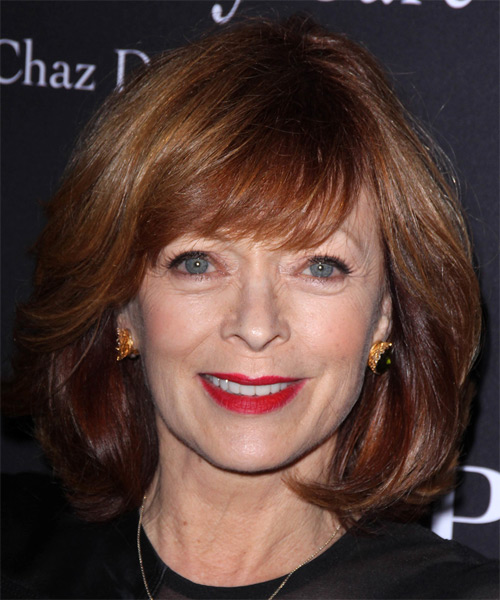 Frances Fisher Medium Straight Formal    Hairstyle   -  Burgundy Red Hair Color