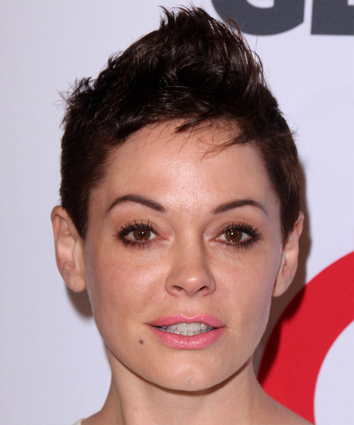 Rose McGowan Short Straight Casual    Hairstyle   - Dark Mocha Brunette Hair Color