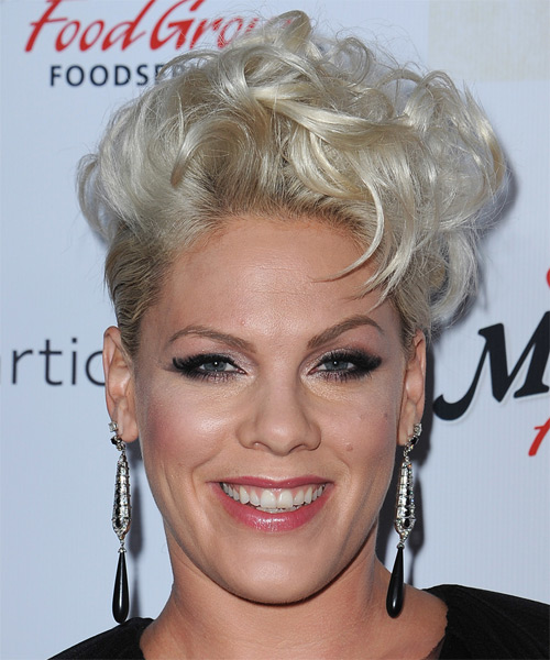 Pink Short Wavy Formal Hairstyle - Light Platinum Blonde Hair Color