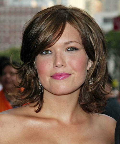 Mandy Moore Medium Straight Casual   Hairstyle with Side Swept Bangs