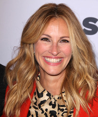 Julia Roberts Long Wavy Casual    Hairstyle   - Dark Copper Blonde Hair Color with Light Blonde Highlights