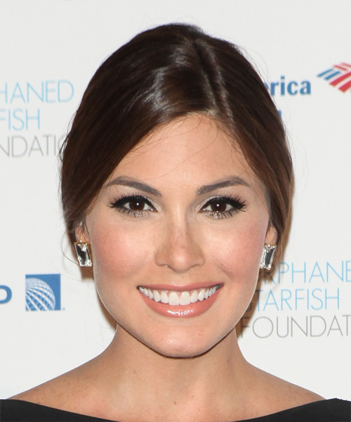 Gabriela Isler Long Straight Formal  Updo Hairstyle   - Medium Brunette